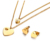 New Arrival Stainless Steel AAA Zicon Heart Necklace Earrings Jewelry Set