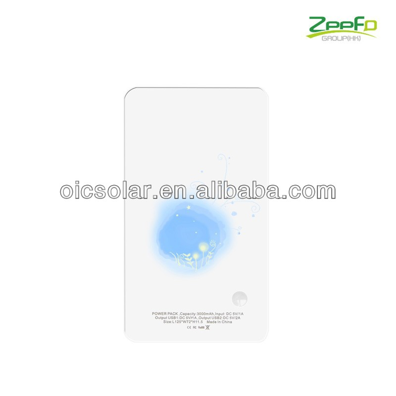 Dual usb output power source for smartphone with blue led charging indicators