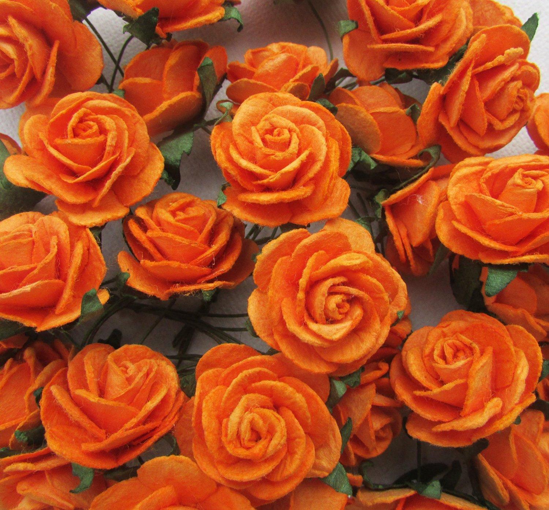Buy 40 Pcs Rose 25 30mm Orange Mulberry Paper Flowers Handmade Craft