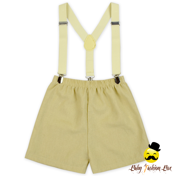 British Style Unisex Kids Plain Linen Breathable Casual Short Pants Back To School Uniform Suit Blank Suspends Shorts