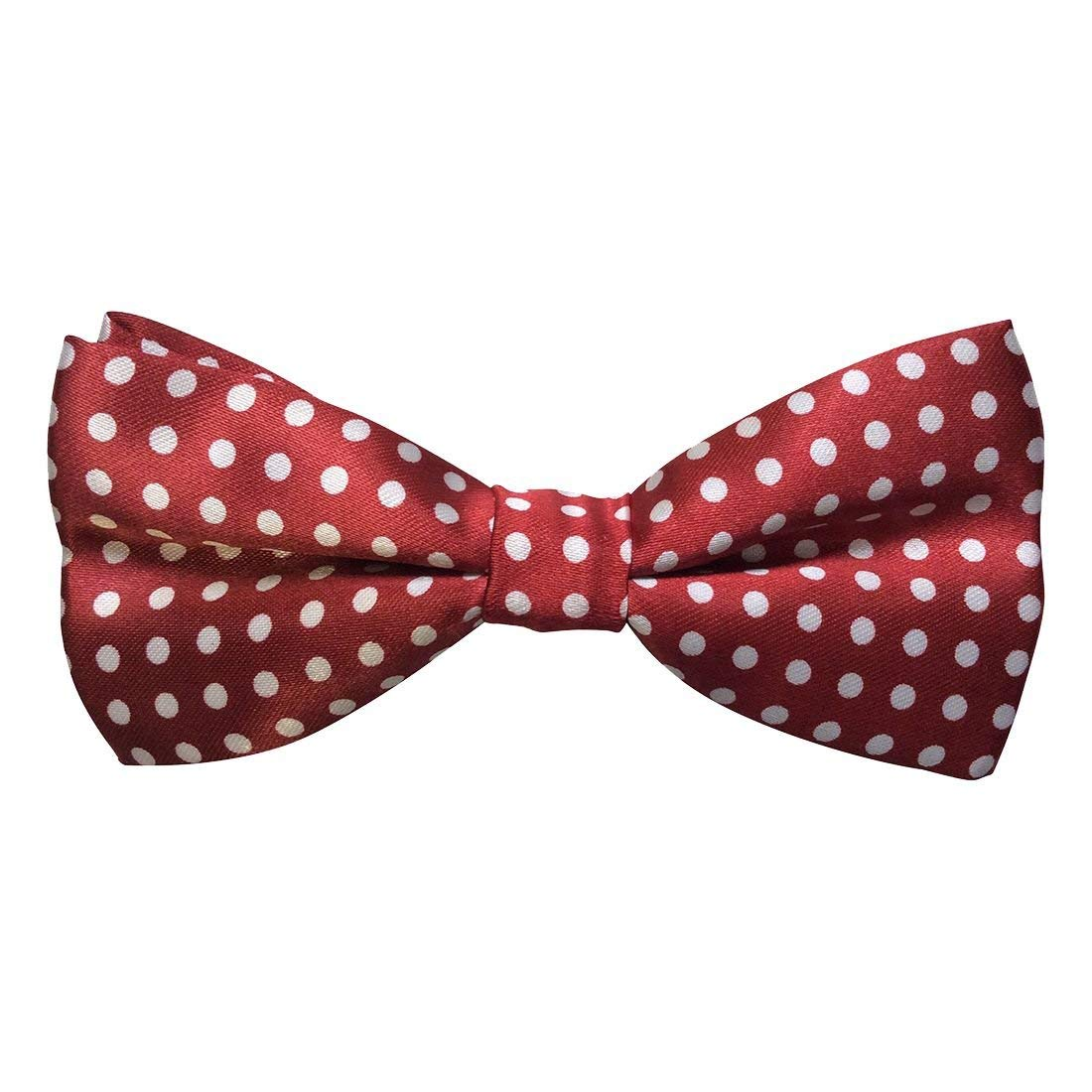 1d77b64f71c0 Get Quotations · SODIAL(R) Mens Satin Spotty Burgundy & White Luxury  adjustable Bow Tie
