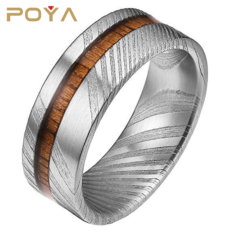POYA Jewelry 8mm Rare Damascus Steel Real Wood Inlay Wedding Ring Statement Ring Flat Style