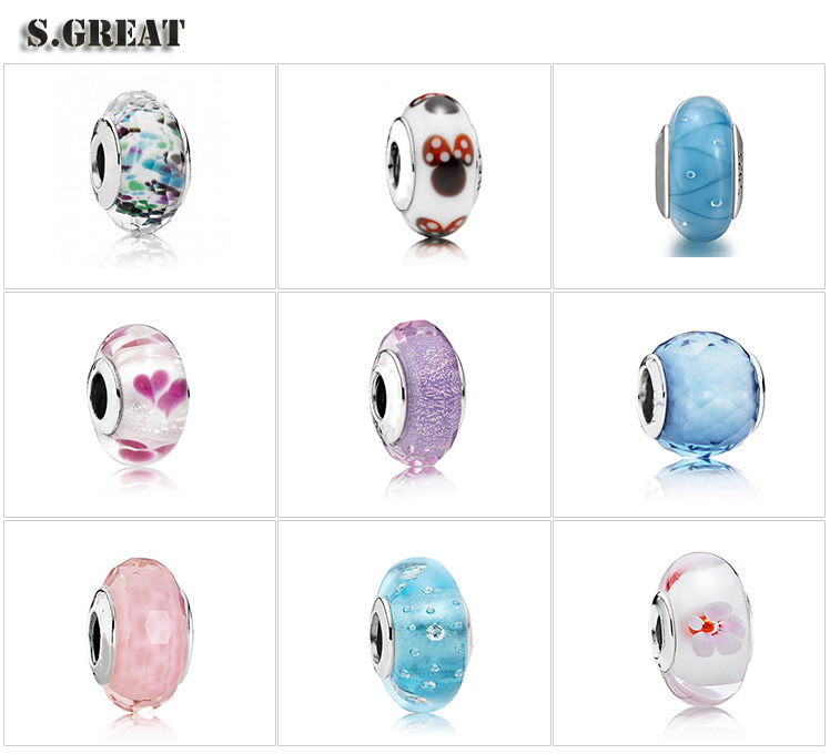 wholesale sterling silver 925 charms beads fit pandora Custom imitation murano glass charms beads fit pandora style jewelry