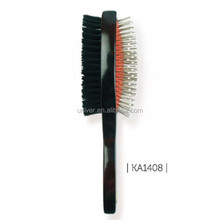 Wooden Handle Rubber Cushion Double- Sided Bristle + Metal Pins Hair Brush KA1408