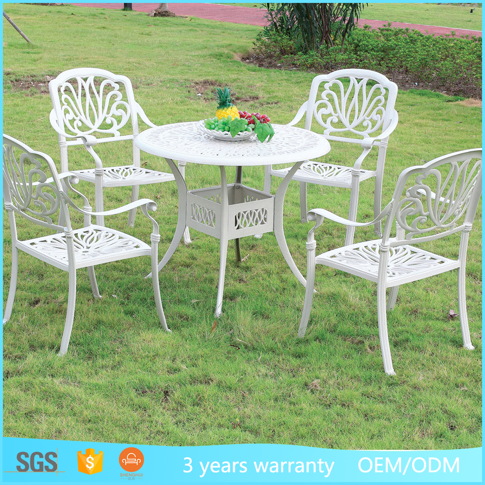 Patio Gargen Cast Aluminum White Table And Chair Outdoor Import Furniture From China