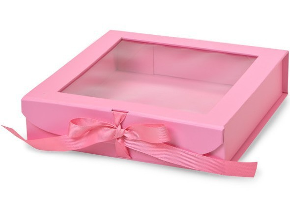 Pink Clear Lid,Clear Window Paper Gift Box With Ribbon Closure ...