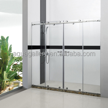 Frameless Shower Door Stainless Steel Slider Screen Tempered Gl