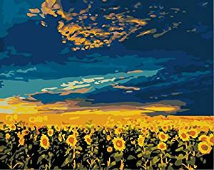 E-onelife Diy Oil Painting, Paint By Number Kits For Children, Sunflowers Vast Diy Digital Oil Painting With Wooden Frame