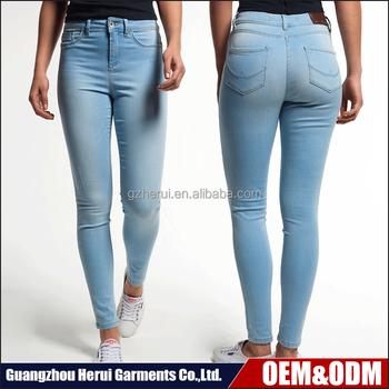 Custom Ladies High Waist Denim Jeans Pants Pent Wholeslae China ...