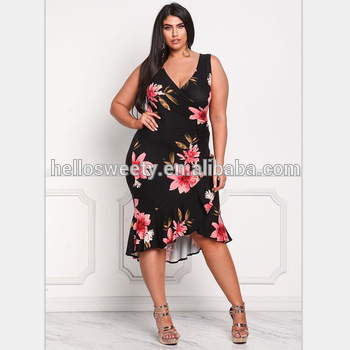 a98138055c5 2018 women dress plus size floral print knee length patterns latest fancy  design dresses