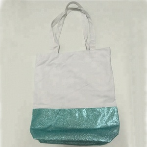 faa9a8043c China wholesale cotton carrying bag with glitter bottom and inside pocket