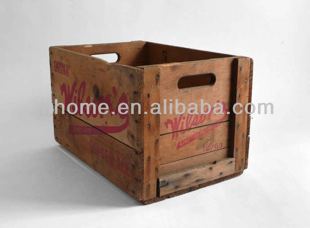 Rustic industry wooden gardening tool box