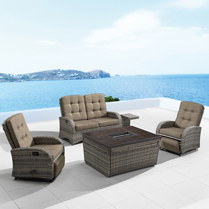 Plastic Rattan Wicker Recliner Sofa Set Garden Treasures Antique Outdoor Fire Pit