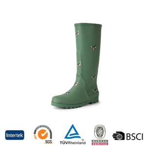 2016 fashion durable green knee high rubber rain boots for women