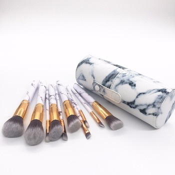 Professionelle weiße Marmor Make-up Pinsel Set 10 Stück mit Foundation Cosmetic Brush