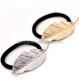 Fancy Lady Leaf Hair Elastics Hair Ties With Metal Charms - Buy ... d2e54844e83