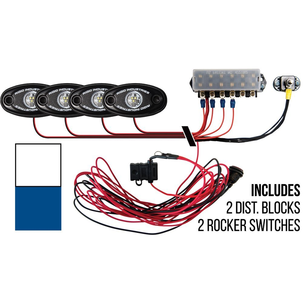 Rigid Industries Signature Series Deck Light Kit - 2 Cool White, 2 Blue Lights