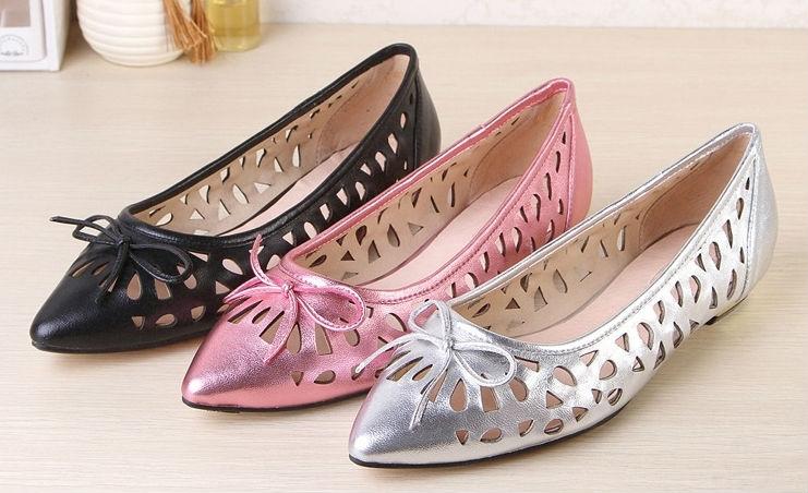 New Fashion Design Lady Shoes Flat Laser Cut Ladies Shoe