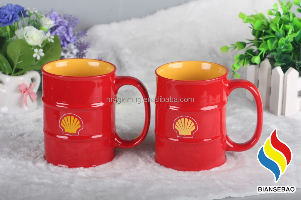 Oil Drum Shape Ceramic Mug With Customized Logo