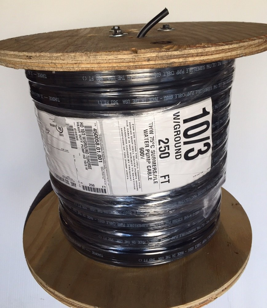 250 feet 10/3 w/ ground, flat HD copper submersible pump cable, stranded 3-wire + 1-ground, jacketed, UL listed