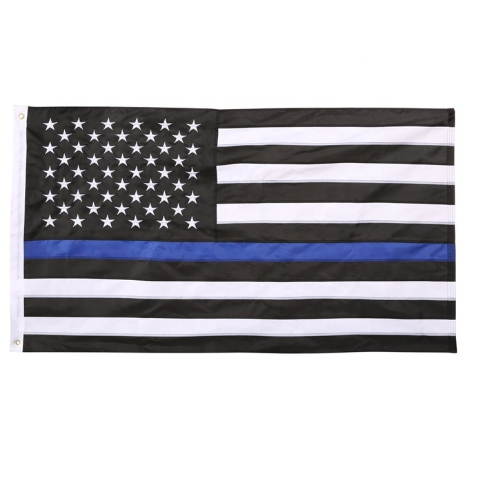 Large Screen Printed 3x5ft USA Thin Blue Line Flag