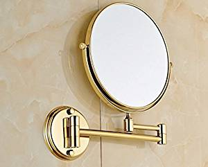 European style wall mounted folding antique copper mirror bathroom mirror double-sided dressing mirror-8 inch E-gold-plated circular base 8-inch mirror