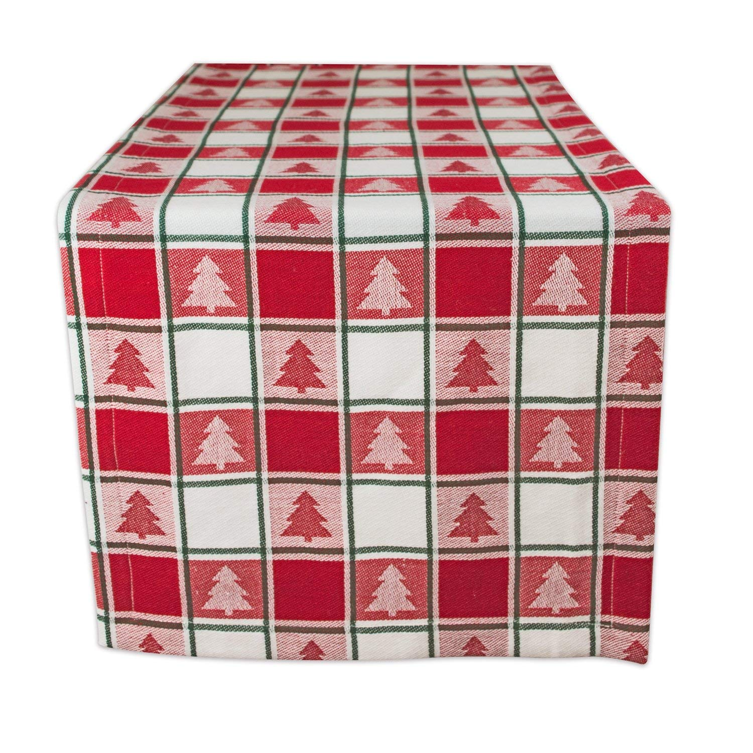 DII 100% Cotton, Machine Washable, Dinner, Christmas & Holiday Table Runner, 14x72, Red & White Check with Christmas Tree
