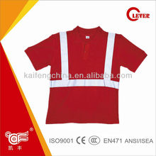 Short Sleeves Industrial Safety Red T-shirts childrens clothing With 5cm Reflective Strips