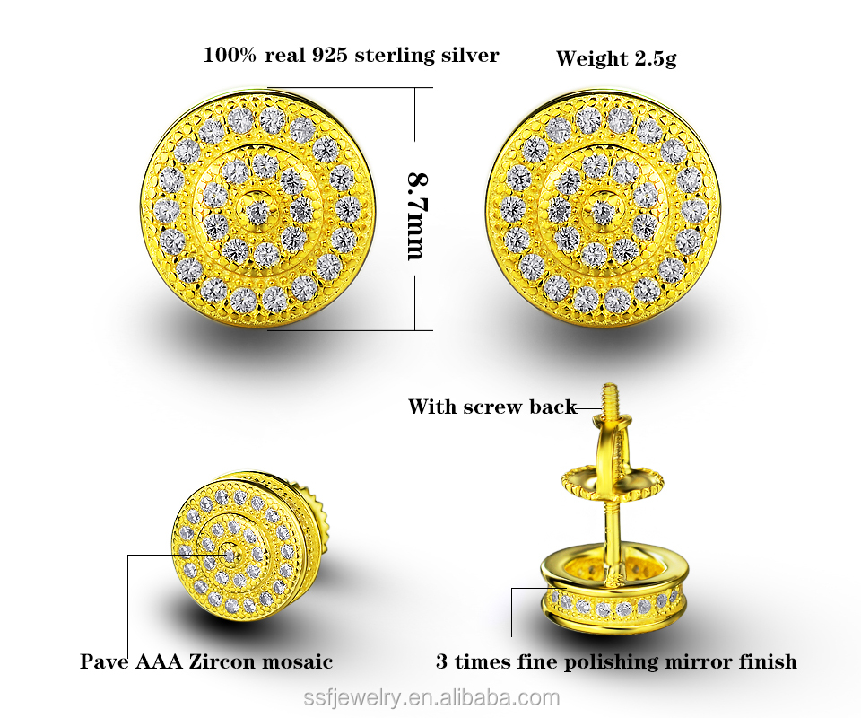 high quality wholesale rhodium plating 925 sterling silver micro pave cz earrings