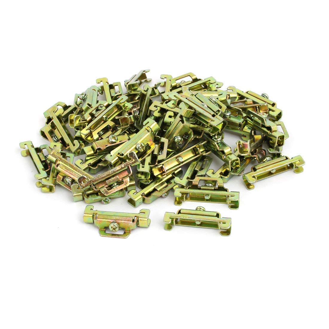 uxcell 50 Pcs 35mm Width DIN Guide Rail Buckle Fixed Clamp Bronze Tone 44mmx8mmx22mm