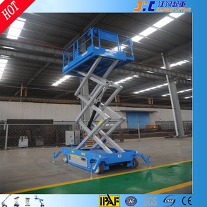 14 m hydraulic drive battery power scissor lift building lift elevator with four wheels solid tires