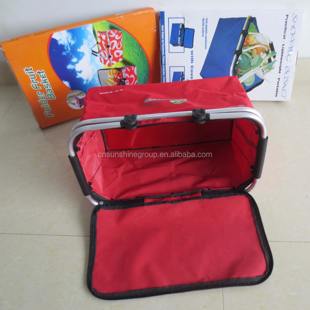 600D Polyester Eco-friendly Red Folding Cloth Shopping Basket