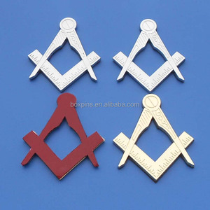 Masonic Master Mason Cut out Car Emblem Silver Gold Tone