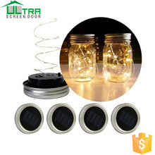 Outdoor mason jar lid solar lights LED string copper wire lamp