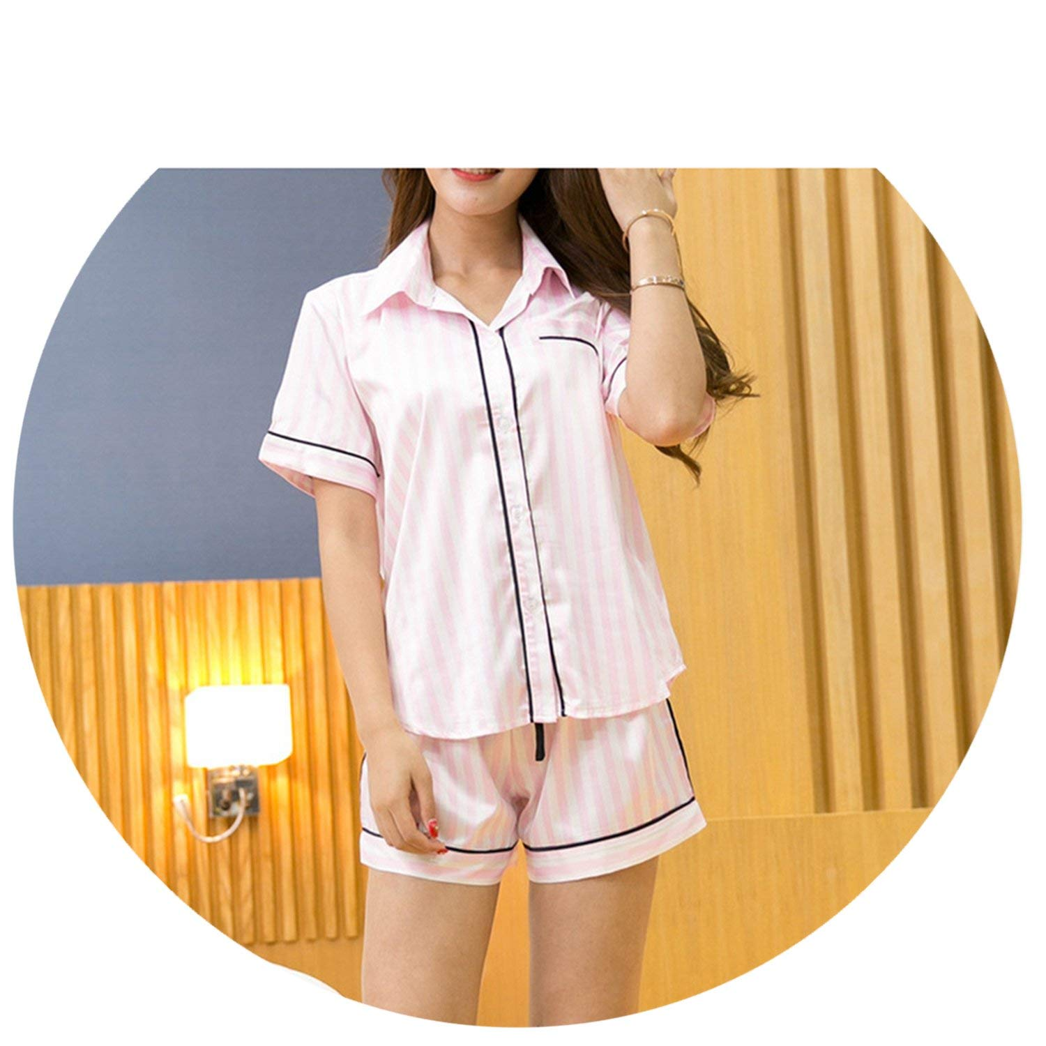 ab4ec50c82 Get Quotations · Satin Pajamas Shorts Womens Silk Pajamas Sleepwear Set  Sexy Elegance Pyjamas
