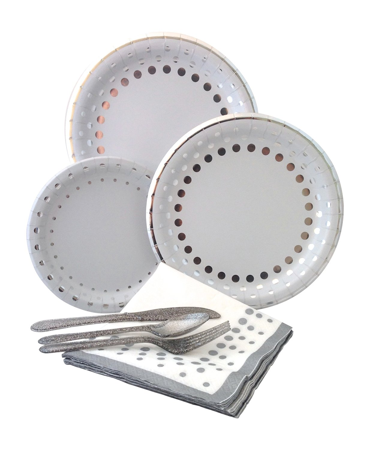 Bundle Includes Paper Plates Napkins \u0026 Silverware for 8  sc 1 st  Alibaba & Buy Silver Dot Party Supply Pack! Bundle Includes Paper Plates ...