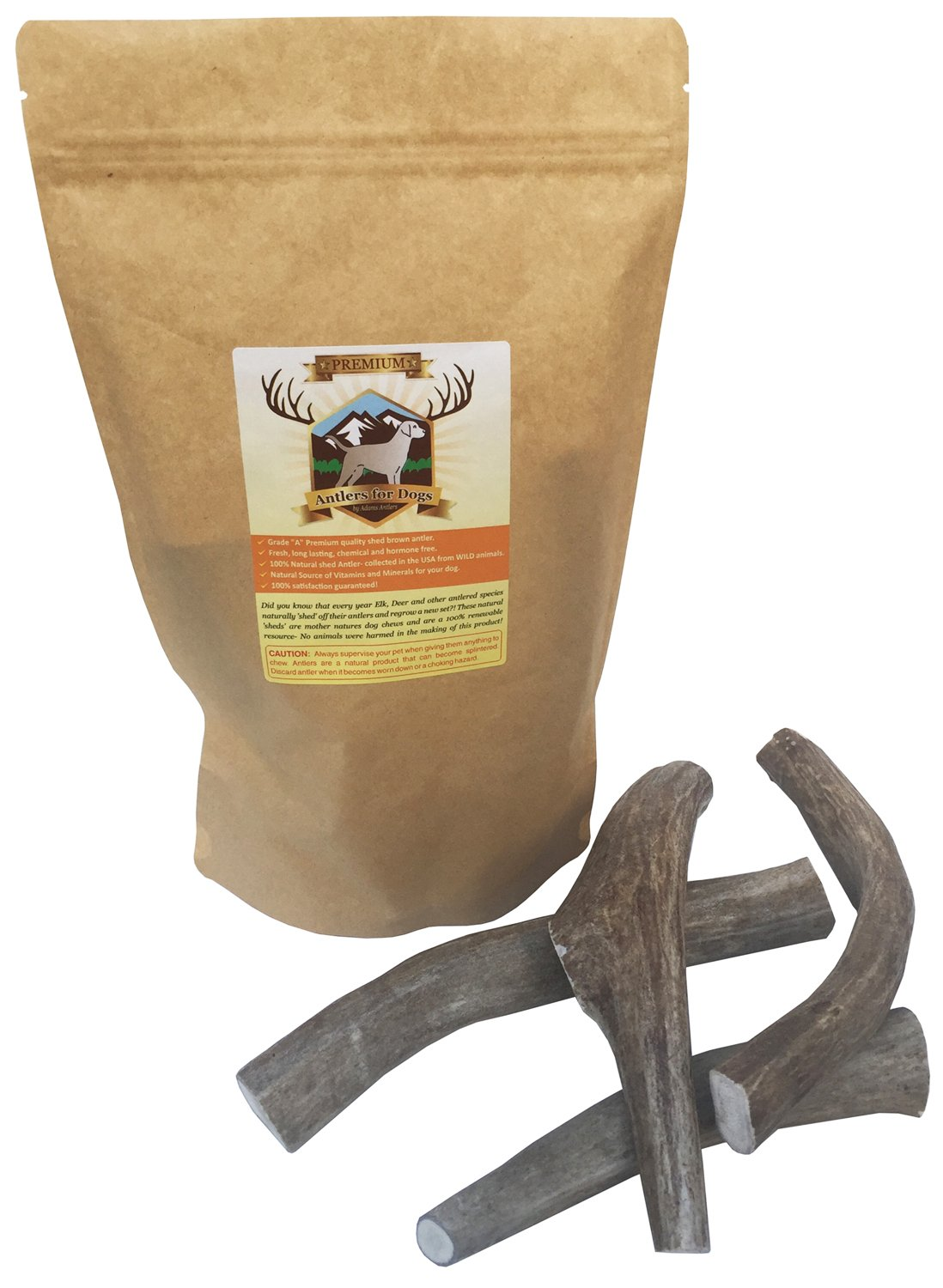 Deer Antlers for Dogs Premium 4 pack Deer antler bone chews. Guaranteed to contain 4 fresh brown antler chews for dogs.