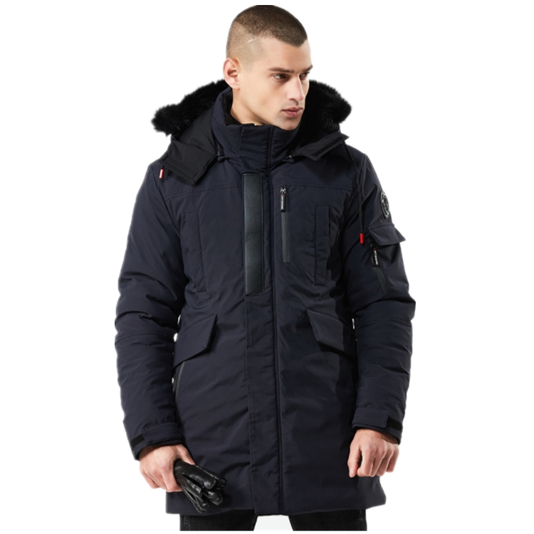 men's winter medium-length hooded and thickened windproof quilted Jacket, Black/navy/army green/burgundy