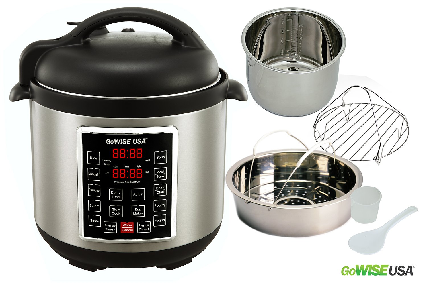 GoWISE USA 8-Quart Programmable 10-in-1 Electric Pressure Cooker/Slow Cooker, GW22623