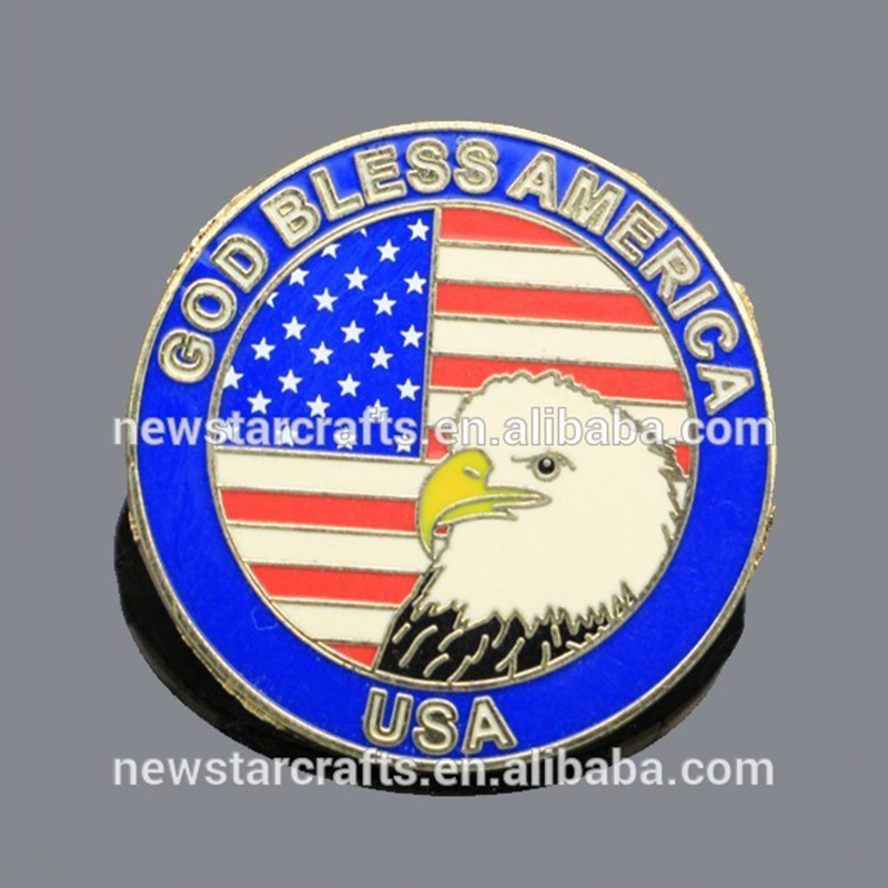 Custom Made Amerikaanse/USA Eagle Vlag coin vorm Revers pin broches