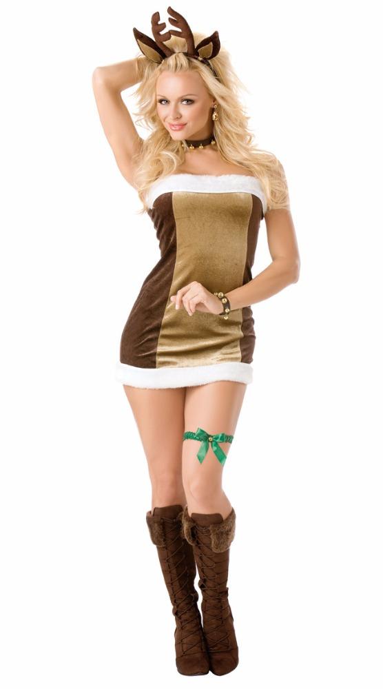 alta calidad ms nueva brown vestido fuera de hombro vestido de navidad del reno de santa