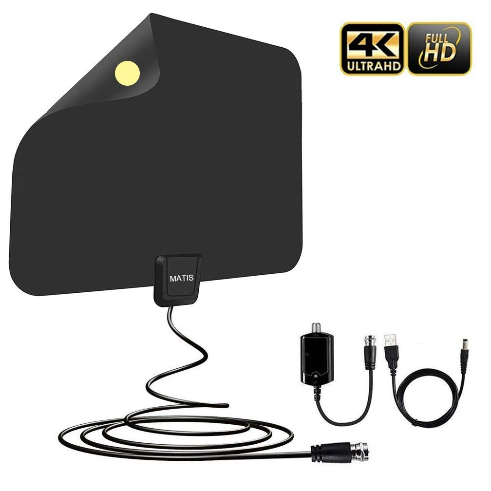 TV Antenna,Amplified HD Digital TV Antenna with Long 65-85 Miles Range-Support 4K 1080P HD VHF UHF & All TVs with Detachable Amplifier Signal Booster and 13.5ft Coaxial Cable