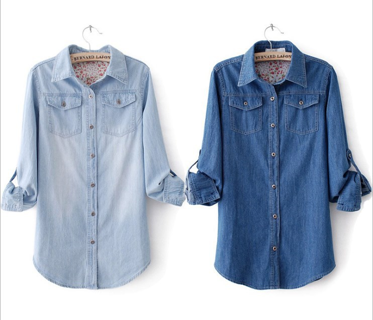 90dd53c3876 Get Quotations · 2015 Women Celebrity Style Vintage Boyfriend Chambray Long  Sleeve Denim Shirt Coat Blouse Tops 2014 New