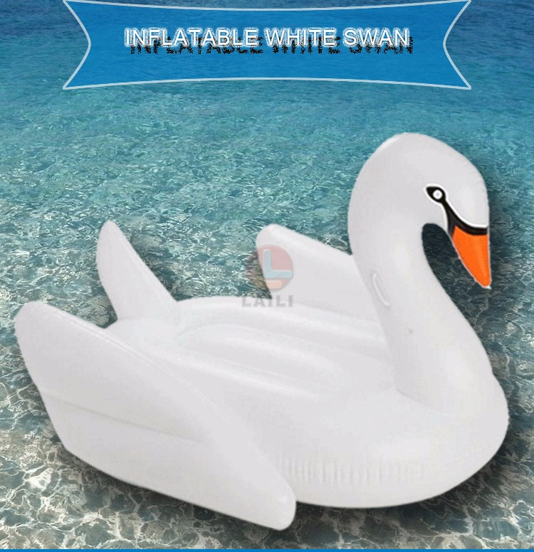 White Swan/ Summer Swimming Pool Lounge Float Inflatable Swan /Giant  Rideable Pool Water Lake