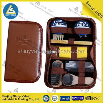 professional handy PVC bag mens shoe shine kit with lint brush and wood shoe brushes