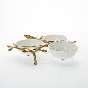 High quality porcelain white house of ceramic bowls set three small bowls in the middle