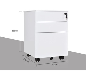 Luoyang factory office furniture 3 drawer mobile steel pedestal cabinet with lock