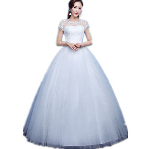 Snow White Wedding Gown 2019 Latest Luxury Beaded custom bridal gown Short Sleeves Soft Tulle Ball Gown Wedding Dress
