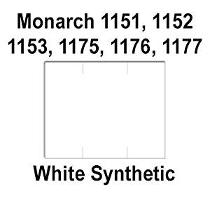 96,000 Monarch 1151 compatible White General Purpose Labels to fit the Monarch 1151, 1152, 1153, 1175, 1176, 1177, 1180 & 1207 Price Guns. Full Case + includes 16 ink rollers.