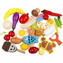Hottest Play Food Wooden Kitchen Toy Play Food Set Wooden Cutting Food Magnetic Fruits and Vegetables